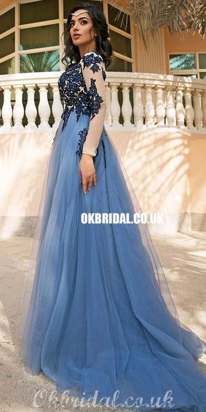 Charming Long Sleeves A-line Tulle Floor-length Applique Prom Dresses, FC4328