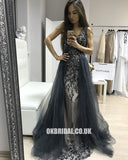 Charming A-line Beaded Sleeveless Tulle V-neck Backless Prom Dresses, FC432