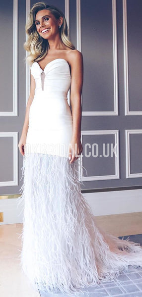 Simple Mermaid Sweetheart Jersey White Prom Dress , FC4334