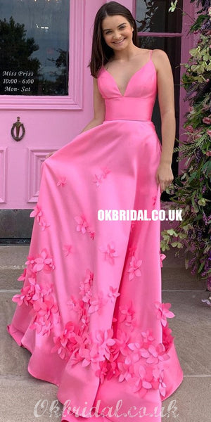 Gorgeous Spaghetti Straps Satin A-line Backless Applique Prom Dresses, FC4341