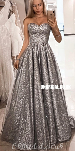 Sparkle Sequin A-line Sweetheart Tulle Gorgeous Prom Dresses, FC4351