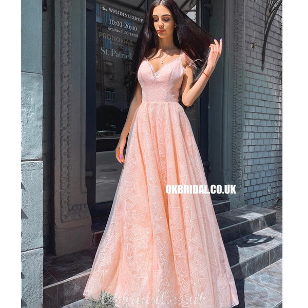 Elegant A-line Lace Backless Long Floor-Length Prom Dresses, FC4352