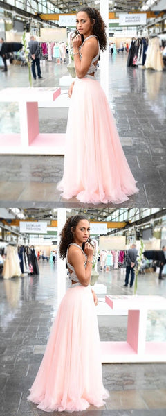 Two Pieces A-Line Tulle Luxury Beaded Open-Back Sleeveless Prom Dress, FC436
