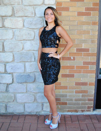 Black Sequin Mermaid Sparkle Sleeveless Cheap Homecoming Dress, FC438