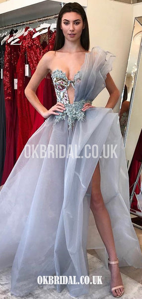 A-line Organza Sweetheart Sexy High Slit Applique Unique Prom Dress, FC4402