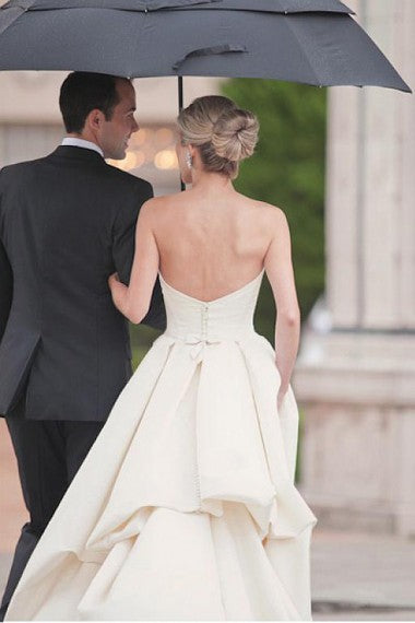 Satin Wedding Dress, A-Line Sweet Heart Wedding Dress, Backless Wedding Dress, LB0440