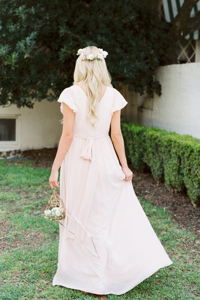 Long Bridesmaid Dress, V-Neck Bridesmaid Dress, Chiffon Bridesmaid Dress, Dress for Wedding, Simple Design Bridesmaid Dress, Floor-Length Bridesmaid Dress, LB0441