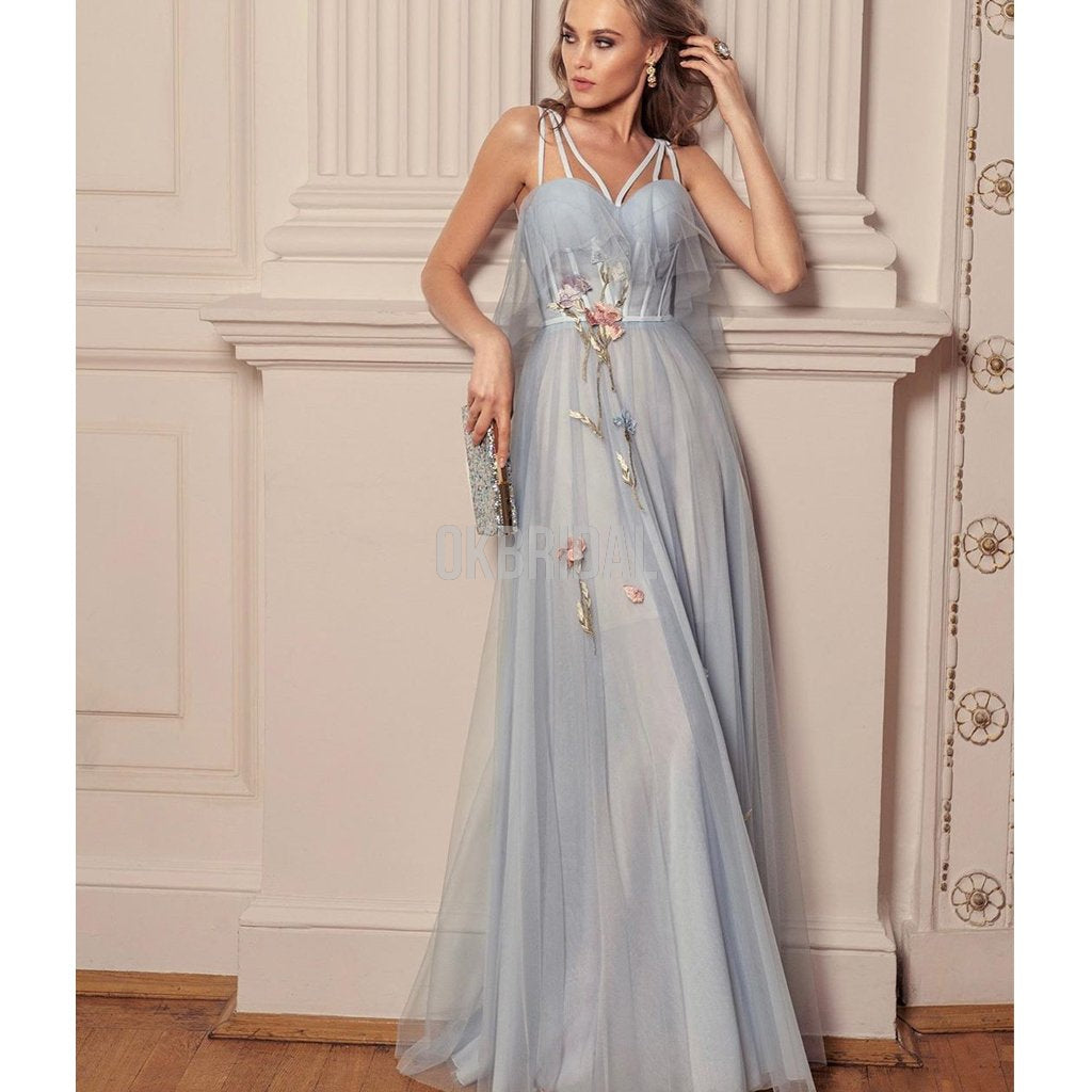 New Arrival A-line Tulle Sweetheart Backless Applique Prom Dress, FC4421
