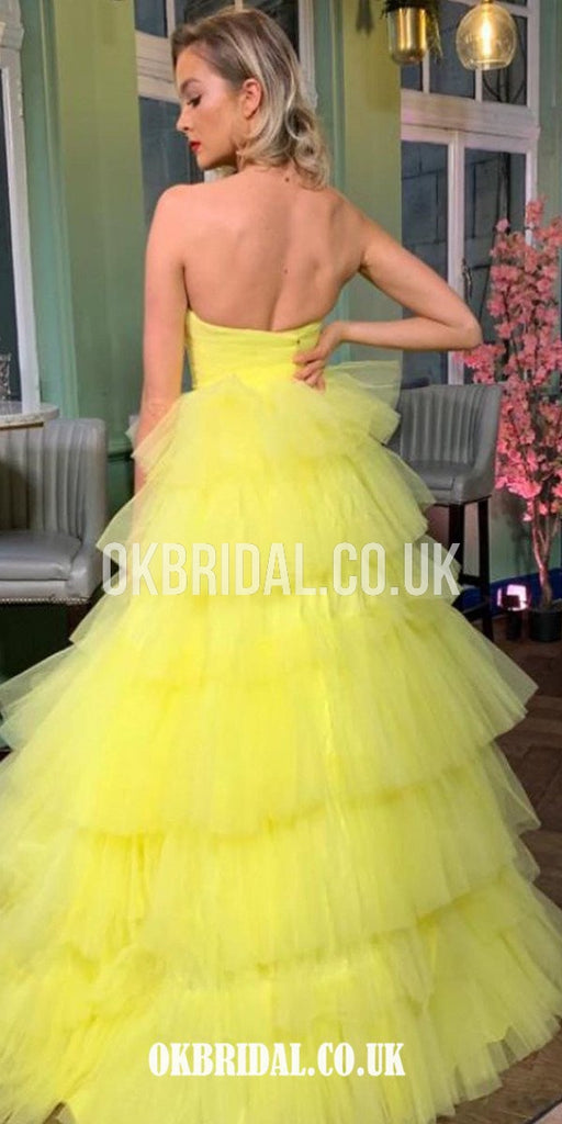 Honest Sweetheart A-line Tulle Backless Yellow Prom Dress, FC4433