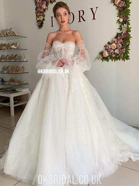 Charming A-line Tulle Backless Long Sleeves Sweetheart Lace Wedding Dresses, FC4455