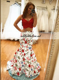 Newest Two Pieces Mermaid Prom Dress, Spaghetti Straps Printed Prom Dress, KX445