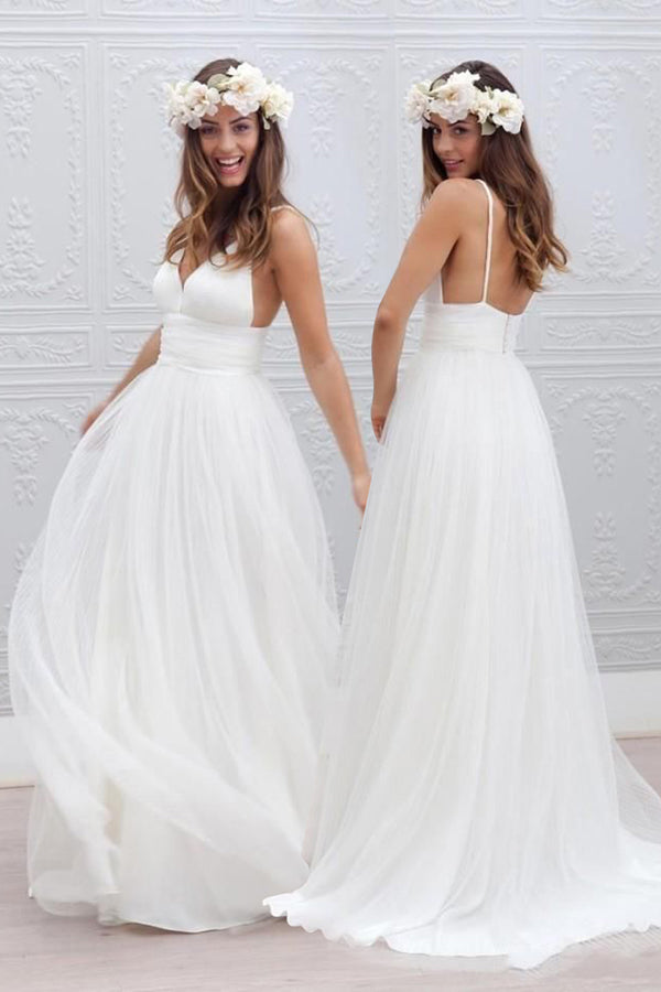 Long Wedding Dress, Tulle Wedding Dress, A-Line Bridal Dress, Spaghetti Straps Wedding Dress, Beach Wedding Dress, Backless Wedding Dress, Deep V-Neck Wedding Dress, LB0447