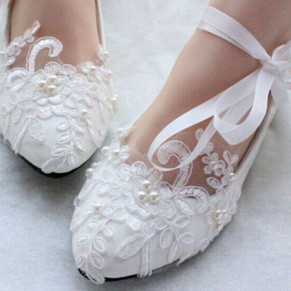 8128a5303 Lace Pearls Pointed Toes Women Wedding Shoes With Ribbons Lace Up, S018