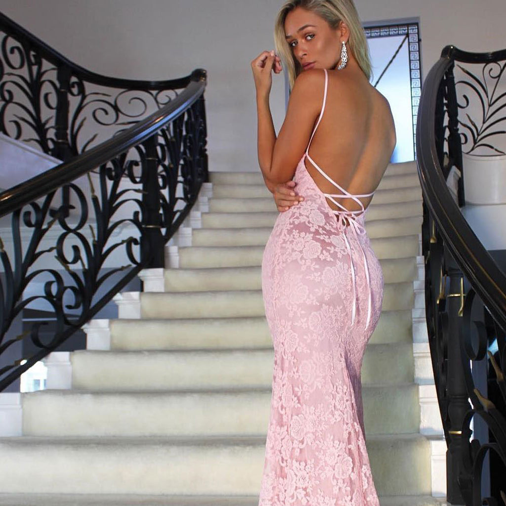 Sexy Backless Mermaid Prom Dresses, Pink Lace Spaghetti Straps Prom Dresses, KX452