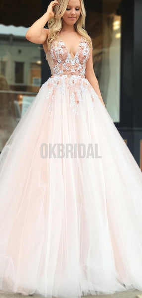 Charming A-line Tulle V-neck Lace Appliques Backless Beaded Prom Dress, FC4530