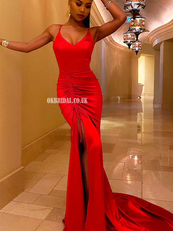 Red Spaghetti Straps V-neck Mermaid Backless Pleated Prom Dresses, FC4543