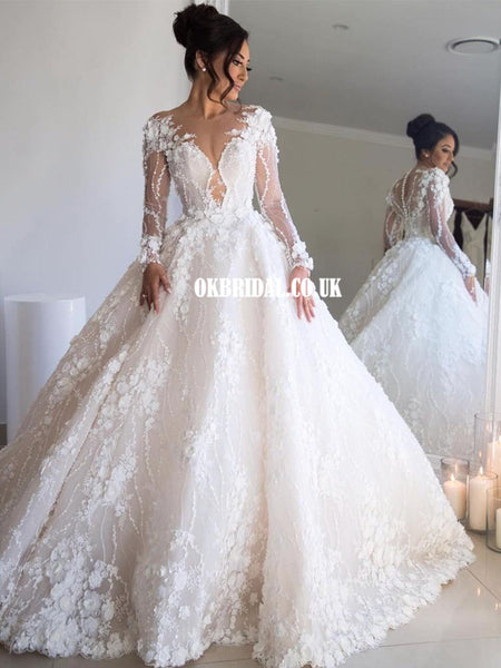Luxury A-line Lace Long Sleeves Wedding Dresses, FC4568