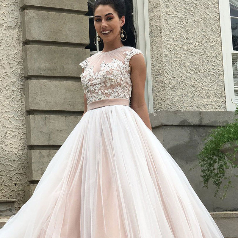 Charming Beaded Prom Dress, Applique Cap Sleeve Open-Back Prom Dress, KX448