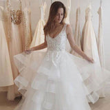 Long Lace Wedding Dress, A-Line Organza V-Back Wedding Dress, SleevelessFloor-Length Wedding Dress, LB0459