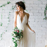 Long Wedding Dress, Chiffon Wedding Dress, A-Line Backless Wedding Dress, Deep V-Neck Wedding Dress, Beach Wedding Dress, LB0461