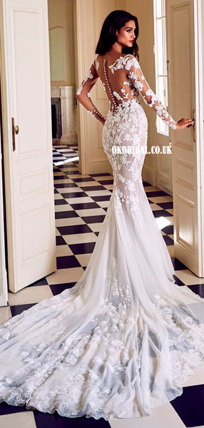 Gorgeous Lace Mermaid Long Sleeves Round Neck Wedding Dresses, FC4688