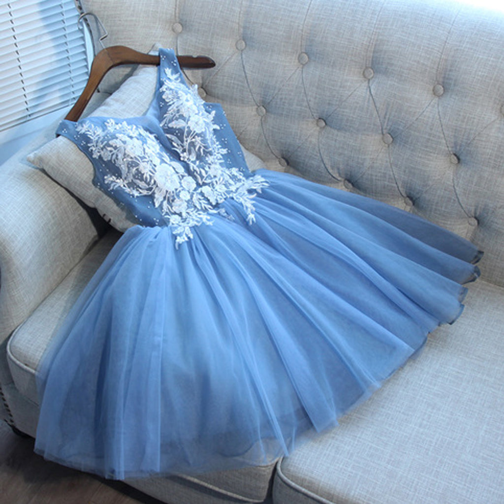 Tulle Sleeveless Homecoming Dress, Applique Knee-Length Homecoming Dress, KX472