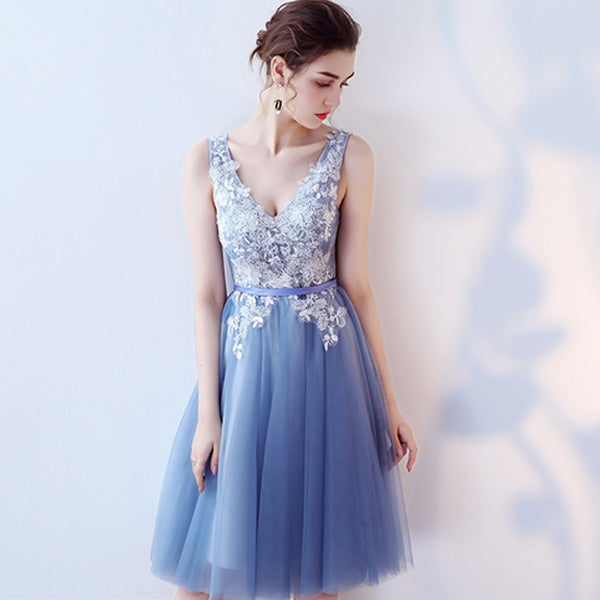 Simple A-Line Lace Homecoming Dress, Sleeveless Tulle V-Neck Homecoming Dress, KX473