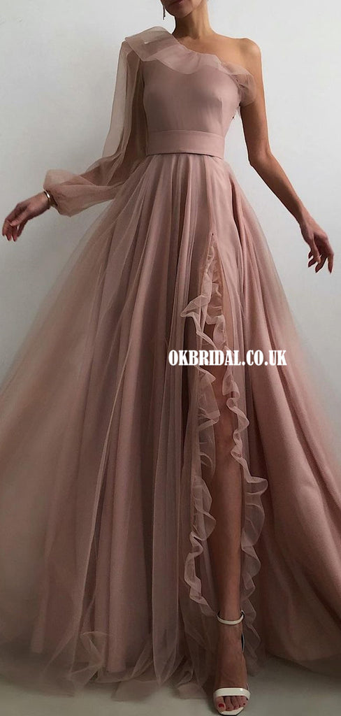 Charming One-Shoulder A-line Sexy Slit Sleeves Prom Dresses, FC4764