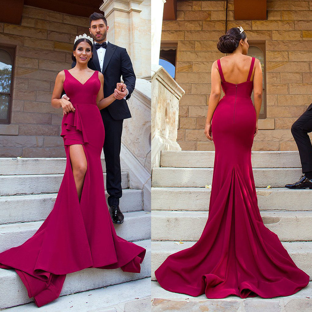 Mermaid Slit Prom Dresses, Backless V-Neck Prom Dresses, Simple Prom Dresses, KX480
