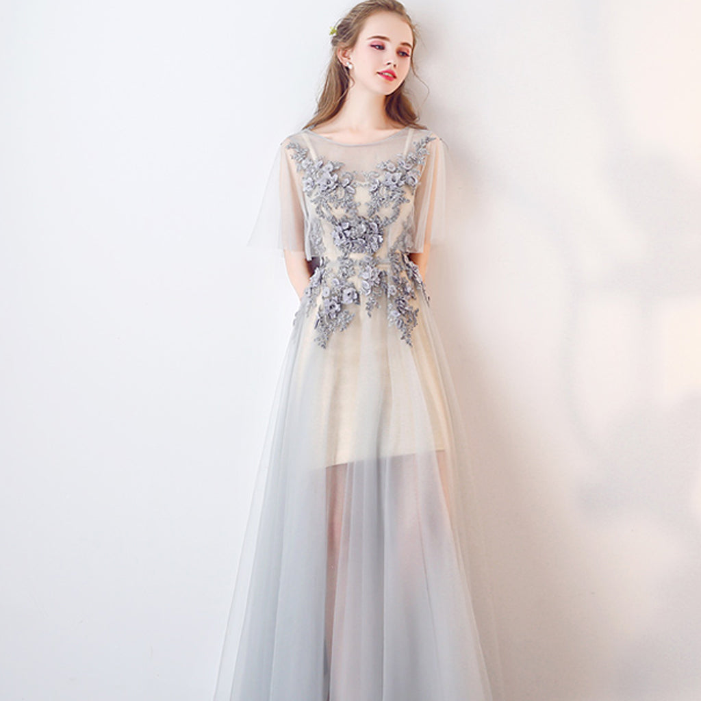 Long Prom Dresses, Tulle Prom Dresses, A-Line Party Dresses, V-Back Evening Dresses, Floor-Length Prom Dresses , Applique Prom Dresses, Charming Prom Dress, LB0481