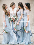 Honest A-line Chiffon 1/4 Sleeves Lace Long Bridesmaid Dress, FC4862