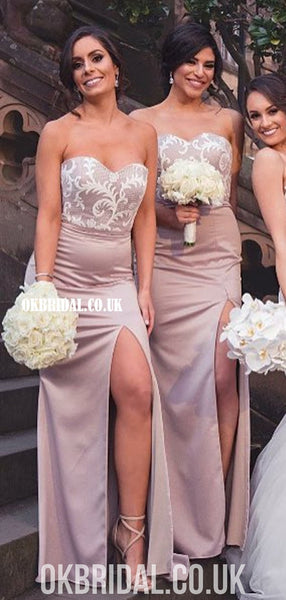 Long Sweetheart Mermaid Lace Backless Elastic Satin Bridesmaid Dress, FC4869