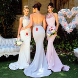 Different Colors Mermaid Halter Backless Jersey Bridesmaid Dress, FC486