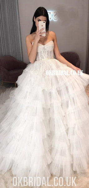 Honest Sweetheart A-line Tulle Backless Lace Top Wedding Dresses, FC4877