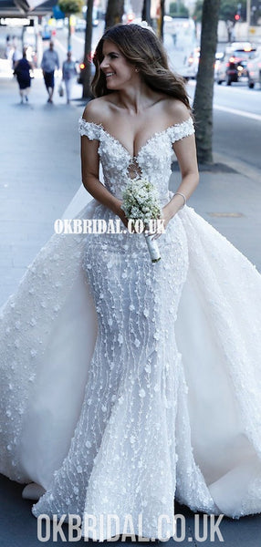Stunning Off Shoulder Lace Backless 3D Flowers Wedding Dresses, FC4880