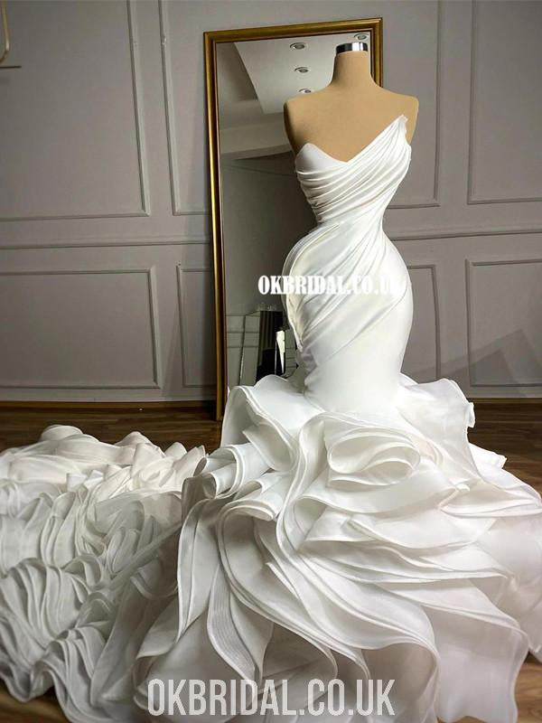 Sexy Mermaid Satin Backless Organza Wedding Dresses, FC4989