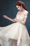 Long Wedding Dress, Lace Wedding Dress, High-Low Bridal Dress, Off-Shoulder Wedding Dress, Organza Wedding Dress, Tulle Wedding Dress, Charming Wedding Dress, LB0489