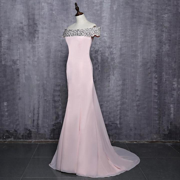 Hot Sale Off Shoulder Floor-Length Pink Beaded Sequins Long Mermaid Bridesmaid Dresses, 220049