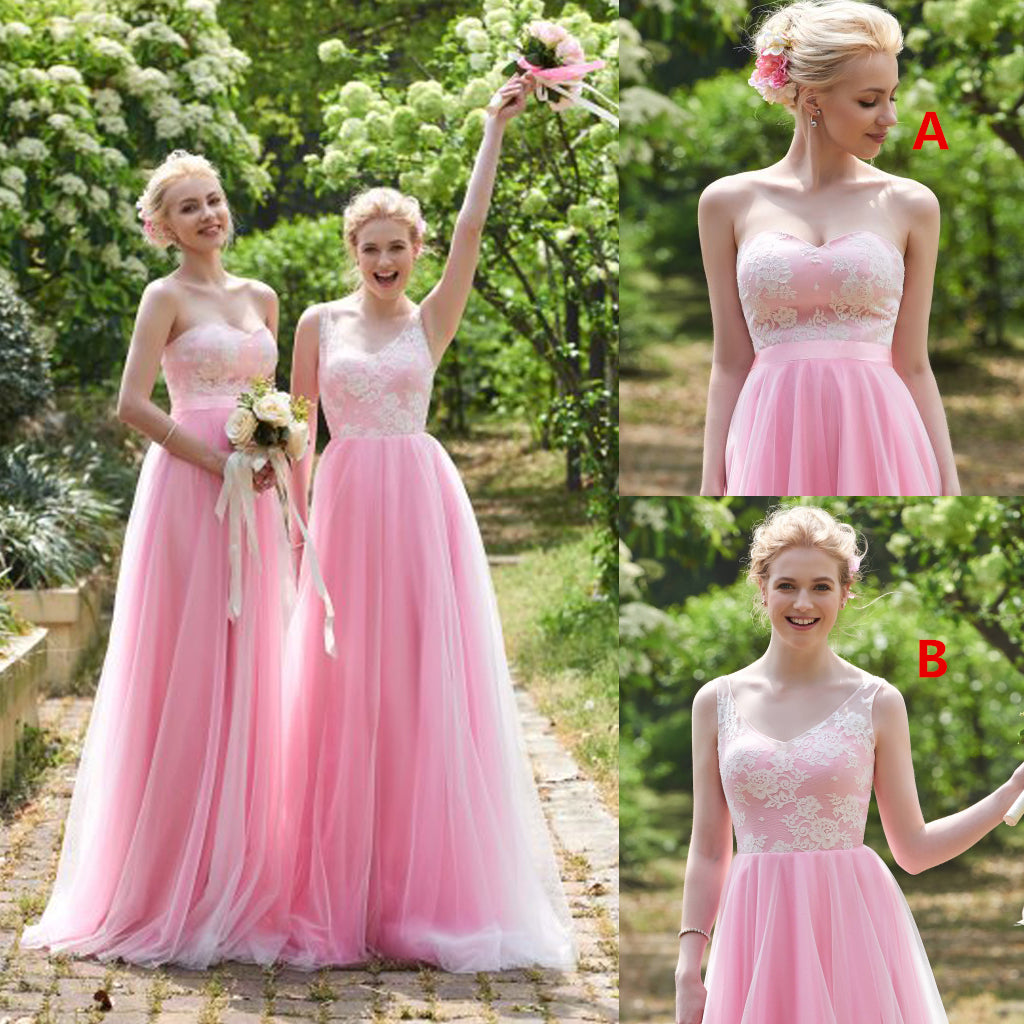 Mismatched Pink Bridesmaid Dress, Tulle Bridesmaid Dress, Lace Top ...