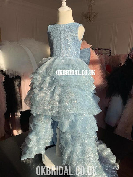 Elsa Inspired Sparkly Sequin High-low Flower Girl Dress, FC4933