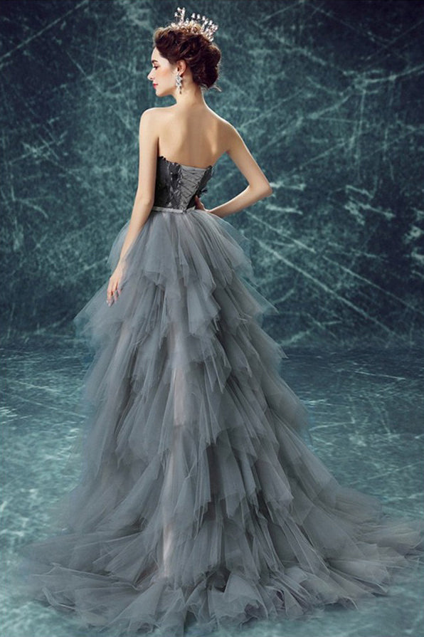 Long Prom Dresses, High Low Prom Dress With Cascading Ruffles, A-Line Party Dresses, Tulle Evening Dresses, Sweet heart Prom Dresses , Feather Prom Dresses, Charming Prom Dress, LB0493