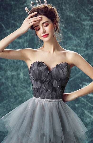 81c3fe29e24 Long High Low A-Line Tulle Sweet heart Prom Dress With Cascading Ruffles