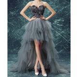Long High Low A-Line Tulle Sweet heart Prom Dress With Cascading Ruffles, LB0493