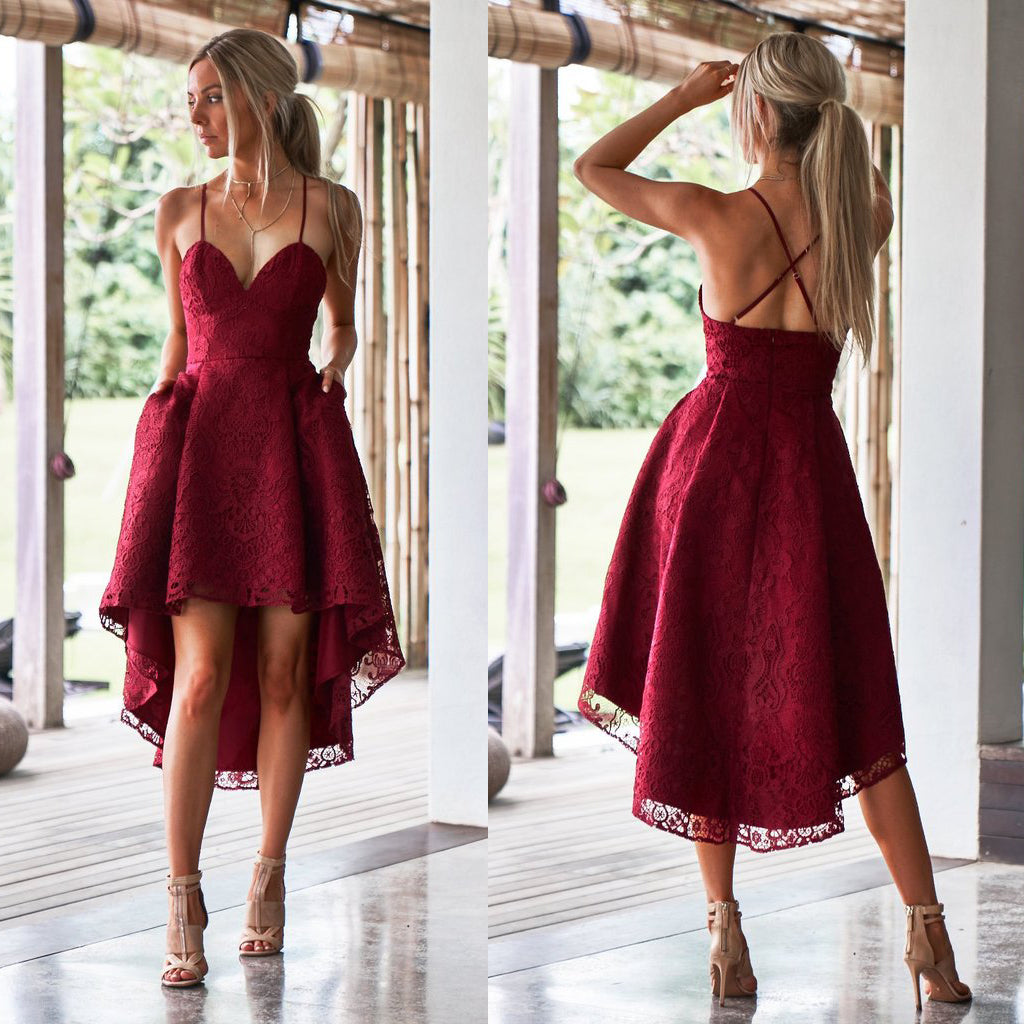 High-Low Lace Homecoming Dress, Spaghetti Straps Backless Homecoming Dress, KX497