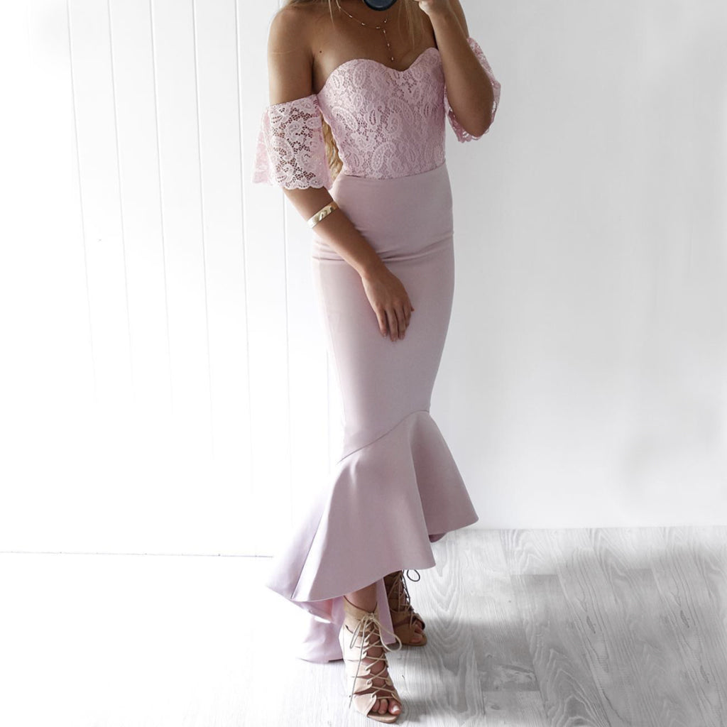 Newest Off Shoulder High-Low Lace Memraid Backless Gorgeous Bridesmaid Dresses, KX498