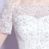 New Arrival Lace Applique Elegant Simple Design Mermaid Wedding Dress with Short Train,220006