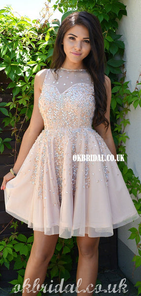 Gorgeous A-line Tulle Sleeveless Beaded Homecoming Dress, FC5015