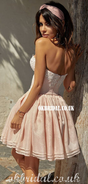 Stunning A-line Sweetheart Lace Backless Organza Homecoming Dress, FC5017