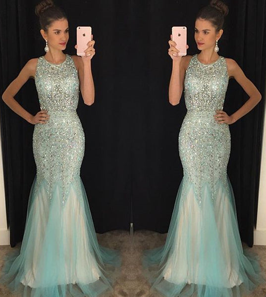 Sparkle Heavy Beaded Open Back Mermaid Sexy Long Prom Dresses, WG504