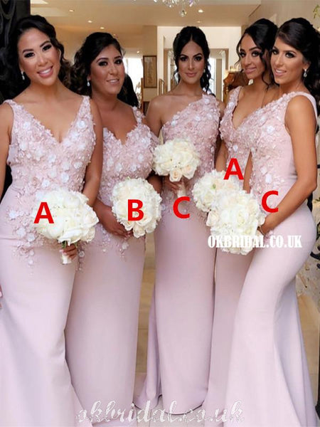 Gorgeous Mermaid Mismatched Lace Appliques Bridesmaid Dress, FC5042